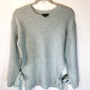 Topshop blue Tunic Sweater w/ Tie Sleeves size 4